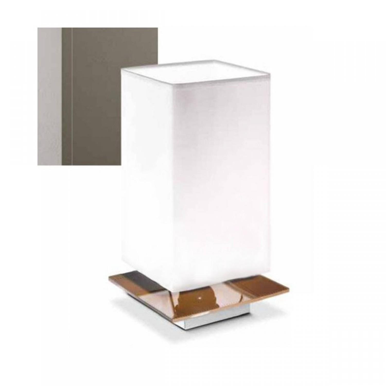 Lampada Da Tavolo In Vetro Colorato Montatura In Metallo Verniciato Bianco 1 Luce E27 42w Dimensioni 14 X 14 H 23 Cm Pierlux Illuminazione