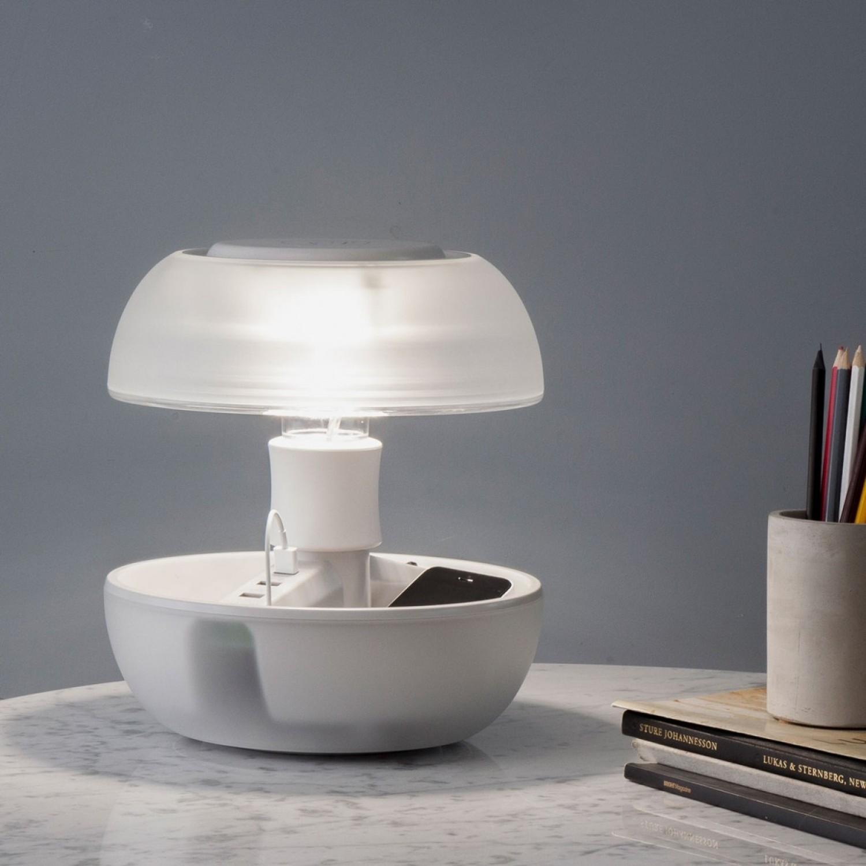 Lampada Da Tavolo Scrivania Con 3 Prese Usb Per La Ricaricare Due Ampi Spazi Portaoggetti 1 Luce Gx53 Pierlux Illuminazione