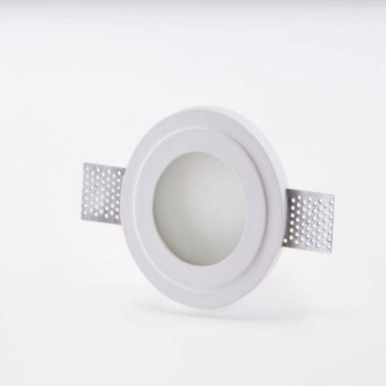 Faretti Incasso Di Gesso faretto da incasso rotondo in gesso, con finitura di colore bianco 1 luce  35w ( gu10 ) e vetro satinato