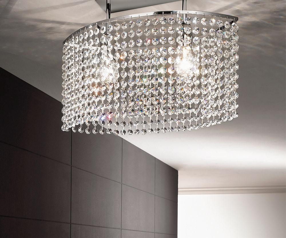 Plafoniere Inox Soffitto : Plafoniera da soffitto ovale in cristallo strass trasparenti con